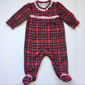 6m little me Christmas plaid footed pajamas